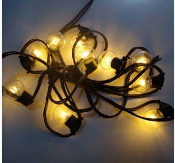 10m LED virtene G45 ar caurspīdīgām spuldzēm